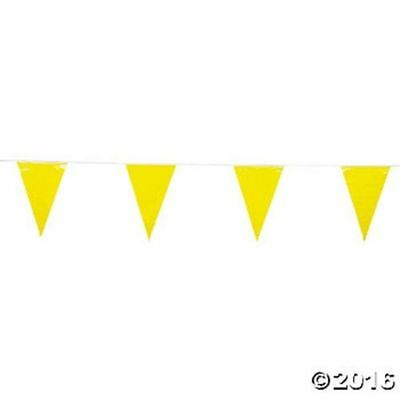 EASTER ~ 100 Foot Yellow Birthday Party Pennant Flag Banner Decoration  (Yellow Birthday Decorations)