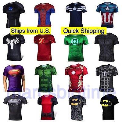 Mens Casual Sports T-Shirt Superhero Costume Top Tee Jersey Cycling Shirt](Men Superhero Costumes)