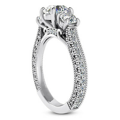 GIA 2.01 CT Round Cut Diamond Engagement Ring VS2 E 14K White Gold 2