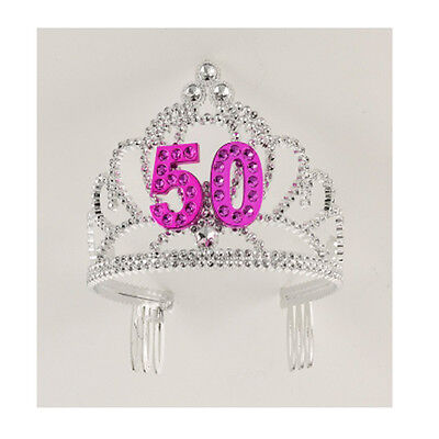 50th Birthday Party Plastic Silver Pink Tiara FREE U.S. FC SHIP !