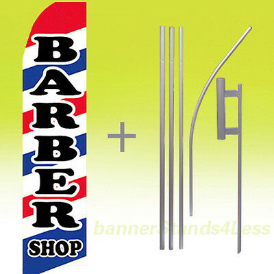 Barber Shop - Swooper Flag 15 Kit Feather Flutter Banner Sign - Wb