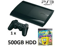 PS3 Super Slim 500GB HDD + SpongeBob Game Bundle for kids