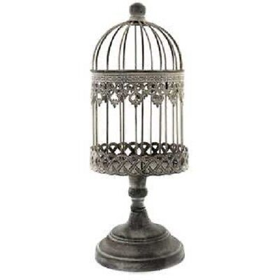 Antique-Style Ornate Rustic Beige Small Iron Bird Cage On Stand Dainty Design