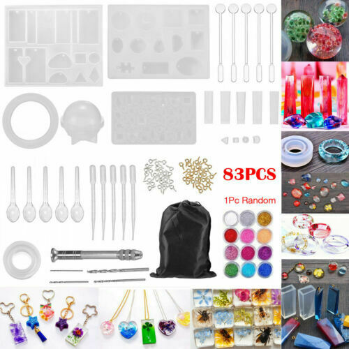 83Pcs Silicone Casting Molds Tools Sets Jewelry Pendant Resi