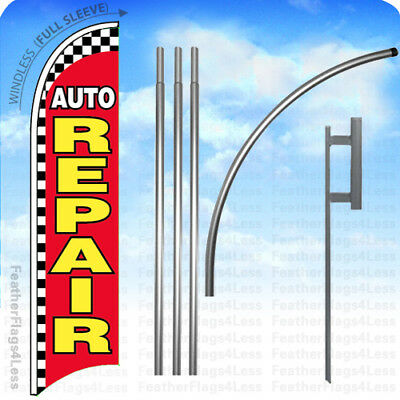 Auto Repair - Windless Swooper Flag 15 Kit Feather Banner Sign - Checkered Rb