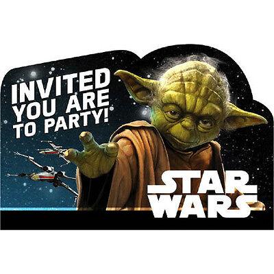 STAR WARS Classic INVITATIONS (8) ~ Birthday Party Supplies Stationery Card Note Star Wars Birthday Invitations