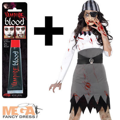 Zombie Pirate + Blood Ladies Hallowen Fancy Dress Womens Adults Costume Outfit  (Hallowen Outfit)