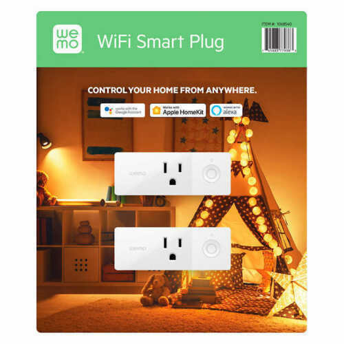 2-pack Wemo Mini Smart Plug Compatible with Alexa Google Assistant Apple HomeKit