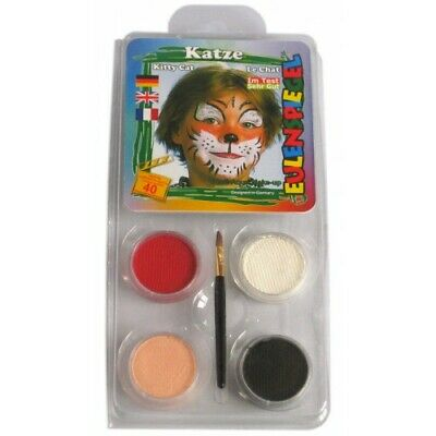 Cat Face Paint Halloween Costume (Halloween Face Paint - Wild Tiger Cat Make Up - Black White Red Nude w)