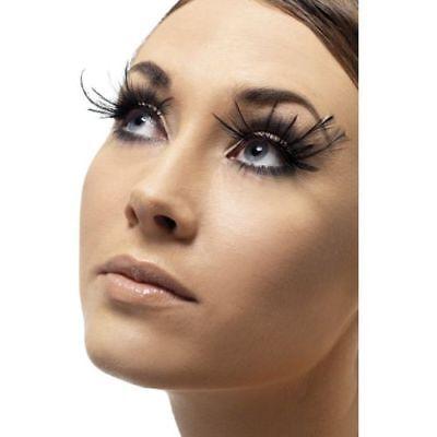 Smi - falsche Wimpern mit Federn in schwarz zu Halloween Karneval Kostüm ()