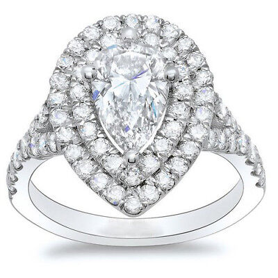 GIA Certified Diamond Engagement Ring2.40 CTW Pear Shape 18K Gold