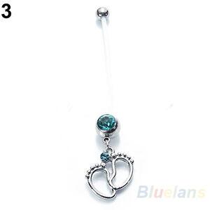 PTFE Pregnancy Belly Navel Bar Ring Maternity Piercing Crystal Gem Baby Feet 1pc