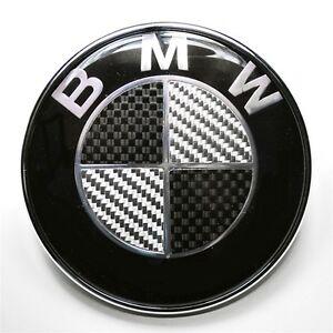 New Car Hood Front Rear BMW Emblem in Carbon Fiber 82mm 74mm