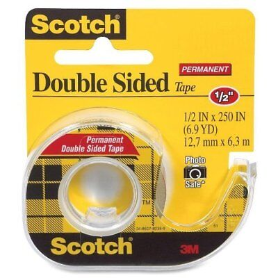 3m Double-sided Tape With Dispenser Permanent 12 X 250 Inches Clear 6-pack