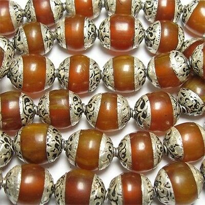 Wholesale 10 Tibetan 12X10mm Sterling Silver Repousse Beeswax Amber Amulet Beads