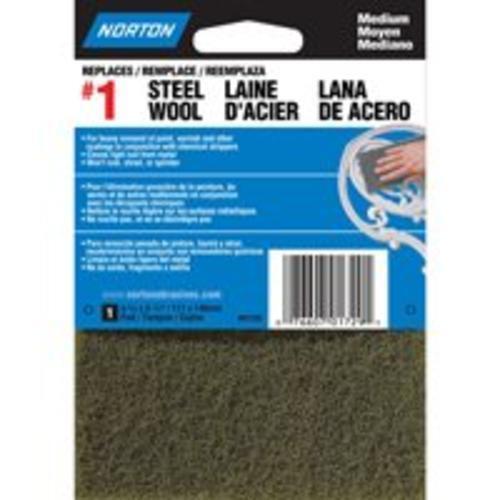 Norton 01729 Synthetic Steel Wool Pads 1Grade Medium, Charcoal