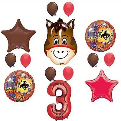 Wild West Cowboy Western 3rd Birthday Party Supplies and Balloon Decorations - Cowboy Birthday Party Supplies