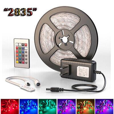 5M LED Strip Light RGB SMD Tape 2835 Ribbon Lamp US Plug Power Full Kit Party