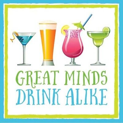 - SUMMER Great Minds Drink Alike SMALL NAPKINS (16) ~ Party Supplies Cocktails