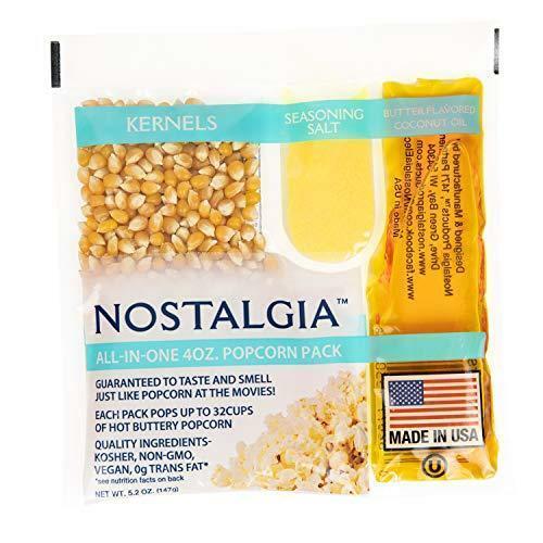 Nostalgia KPP424 Best Tasting Premium 4-Ounce Popcorn, Oil & Seasoning Salt