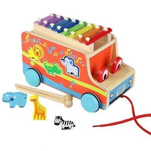 Wooden Pull Bus