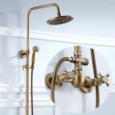 Antique Brass 8-inch Bath Tub Shower Faucet Rain Shower Head With Hand Shower
