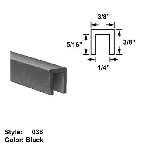 "SBR Rubber U-Channel Push-On Trim - Ht. 3/8"" x Wd. 3/8"" - Black - 25 ft"