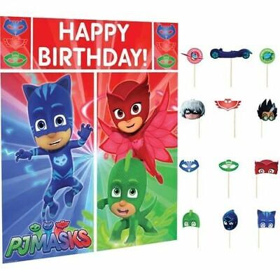 PJ Masks Birthday Party Scene Setter Wall Decoration Kit Backdrop With Props - Scene Setters Decorations