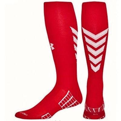 b6d3eec58c68 1 PAIR Mens UNDER ARMOUR UA Striker OTC RED White Soccer Socks Fits Shoe SZ  L
