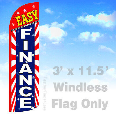 Easy Finance - Windless Swooper Flag 3x11.5 Feather Sign Flag - Starburst Bq