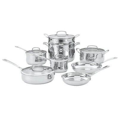 Cookware Set 13 Piece Stainless Steel Frying Pan Saucepan Lids Kitchen Cooking