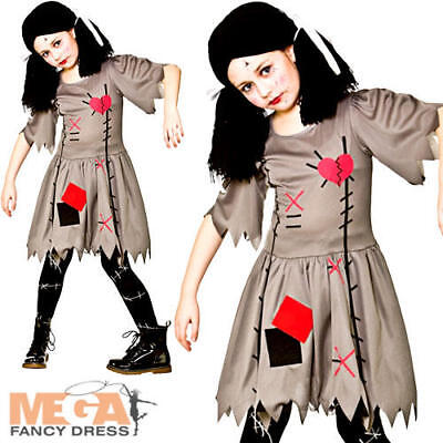 Freaky Voodoo Doll Girls Fancy Dress Cursed Dolly Halloween Childs Kids Costume (Freaky Doll Halloween Costume)