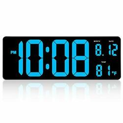 DreamSky 14.5 Inches Extra Large LED Digital Clock with Date Indoor Temperatu...