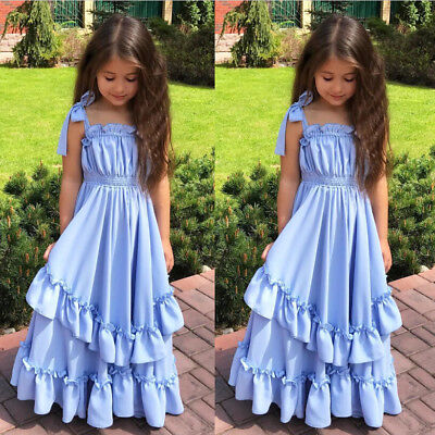 USA Flower Girl Kids Princess Wedding Party Pageant Girls Long Maxi Formal Dress - Blue Girls Dress