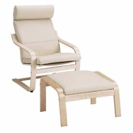 CHAIR AND FOOTSTOOL - CREAM/BEIGE COLOUR