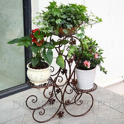 3 TIER Outdoor Garden Flower Plant Stand Metal Floor-Standing S-Design Brown