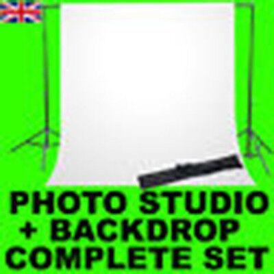 PRO CAMERA PHOTO STUDIO BACKGROUND TRIPOD SUPPORT STAND & 2M WHITE BACKDROP NEW
