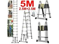 5M Multi Purpose Aluminium Folding Telescopic Ladder - Brand New