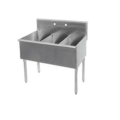 New Commercial Stainless Steel 36 X 18.5 3 Three Compartment Budget Sink 18ga