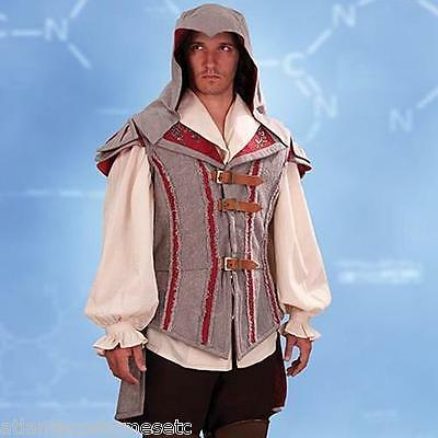 Licensed Assassins Creed Ezio Doublet Grey and Red Hooded - Assassins Creed Kostüm Ezio