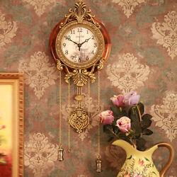 Antique Wooden Retro Style Vintage Wood Indoor Wall Clock with Pendulum