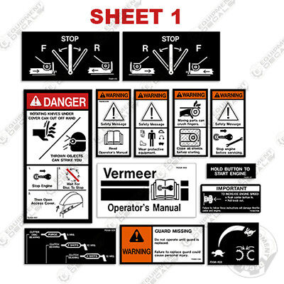 Vermeer Warning Decal Kit Morbarkbrush Bandit Wood Chipper Safety Decal Kit