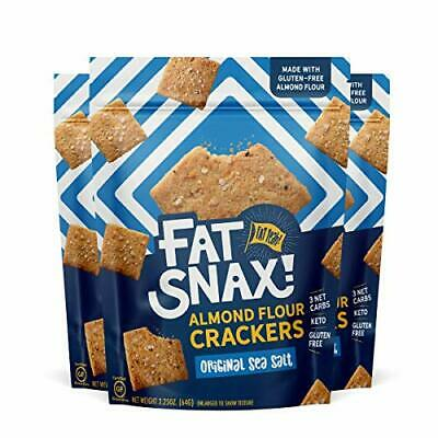 Fat Snax Almond Flour Gluten-Free Crackers - Low Carb (Sea Salt, 3-Pack)