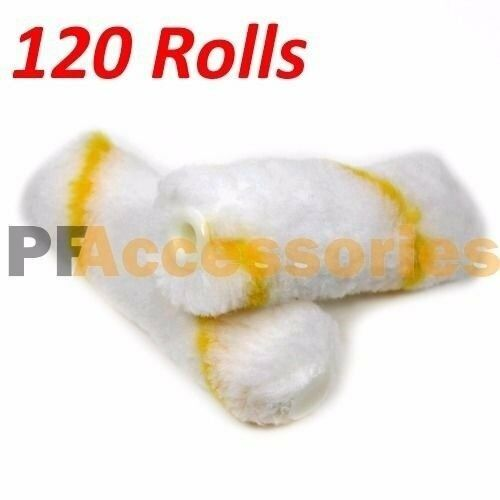 """120 Rolls 4"""" inch Mini Paint Roller Covers Refill Gold Stripe Soft Woven 1/2 Nap"""