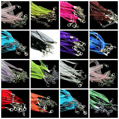 Lot 5/20Pcs Organza Ribbon & Cord Necklace Lobster Clasps Necklace Making Chains