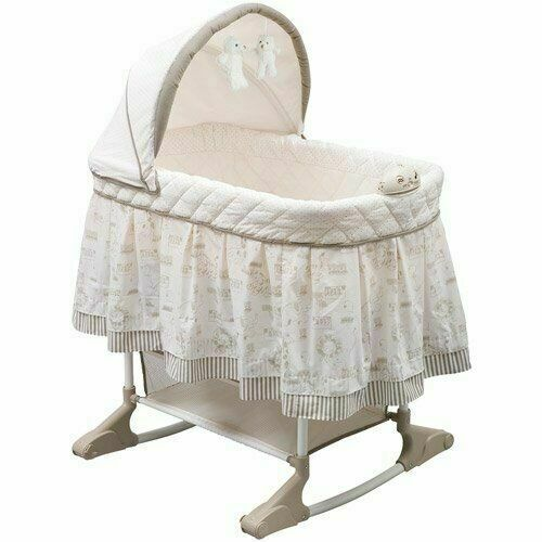 Delta Children Play Time Jungle Rocking Bassinet with Music in Beige