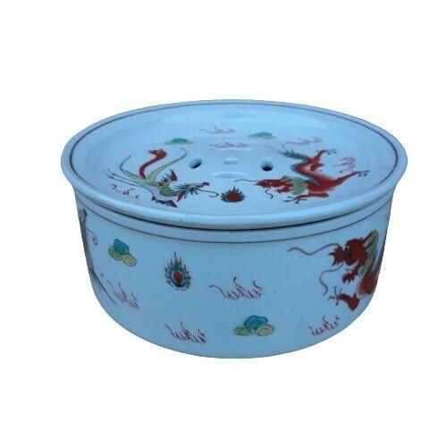 Republic Period Chinese Porcelain Incense Burner Dragons
