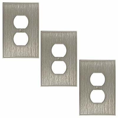 Single Duplex 3 Pack - Brushed Nickel Outlet Cover Twill Cast Metal Decorativ...