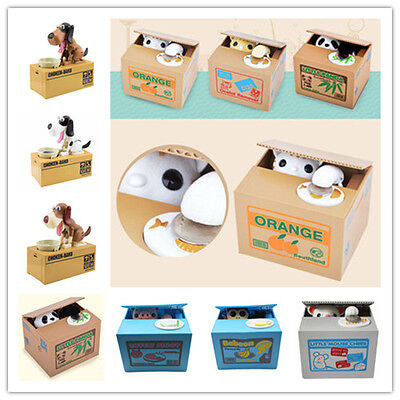 New Cute Stealing Coin Money Box Cat Panda Dog Piggy Bank Storage Saving Box