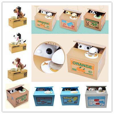 New Cute Stealing Coin Money Box Cat Panda Dog Piggy Bank Storage Saving Box